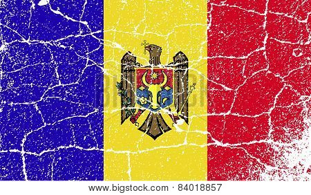 Flag Of Moldova With Old Texture. Vector
