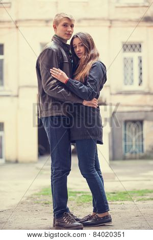 Young Teen Couple At Outdoor.
