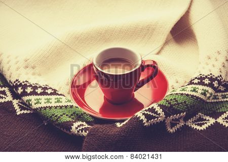 Red Cup Of The Coffee And Vintage Scarf.