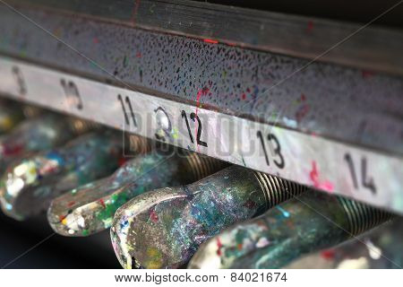 Close-up Of Soiled Paint Printing Machine