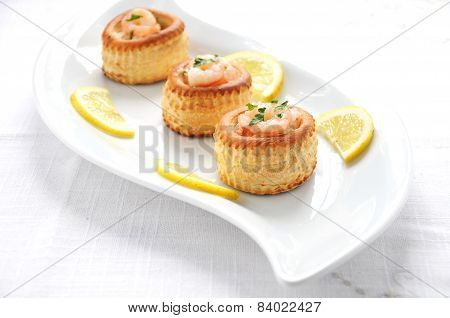 vol au vent with prawns salmon