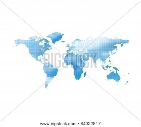 World Map With Blue Cloud Sky