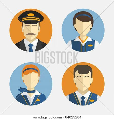 Avatar People. Flat Design. Vector Icons Depicting Different Professions Pilots And Pretty Flight At