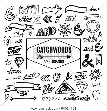 Set Of Catchwords, Ampersands And Other Vector Elements, Sketches