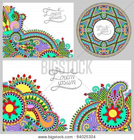 set of floral decorative background, template frame design for c