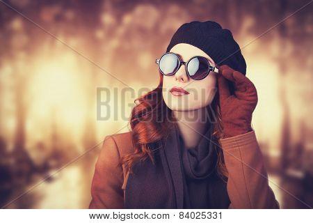 Style Redhead Women In Sunglasses.