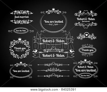 Chalkboard calligraphic frames, page dividers, scrolls and borders for wedding invitations