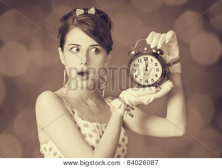 Beautiful Women With Clock