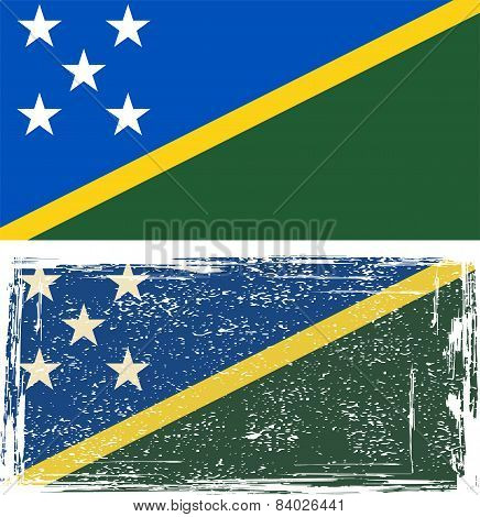 Solomon Islands grunge flag. Vector illustration
