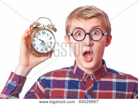 Nerd Guy With Alarm Clock.