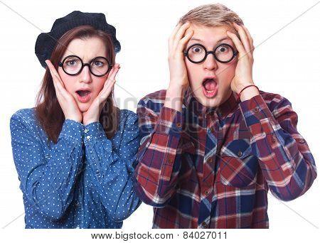 Nerd Teen Couple In Glasses