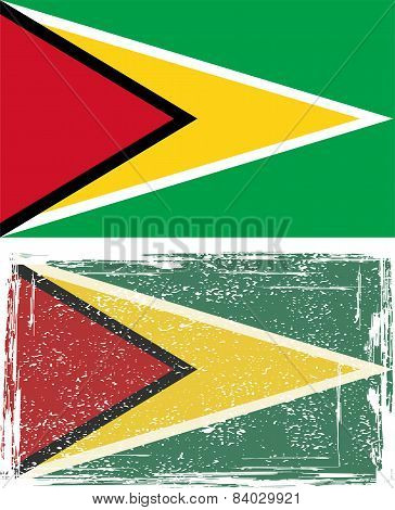 Guyana grunge flag. Vector illustration