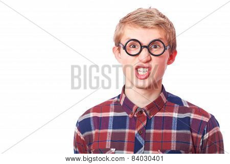 Young Teen Boy In Nerd Glasses.