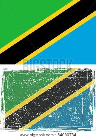 Tanzania grunge flag. Vector illustration
