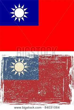 Taiwan grunge flag. Vector illustration