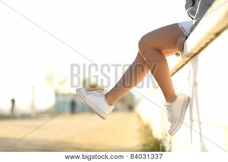 Urban Teenager Legs Wearing Sneakers