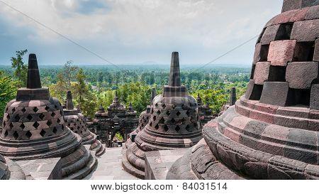 Stupas on the top of Borobudur