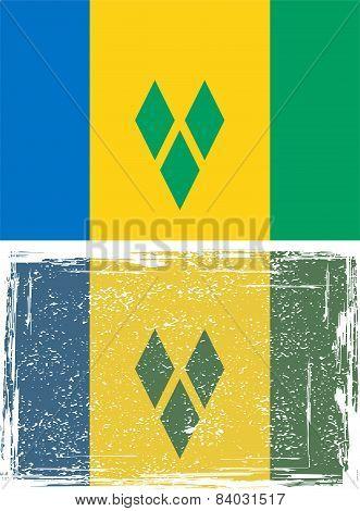 Saint Vincent and the Grenadines grunge flag. Vector illustration.