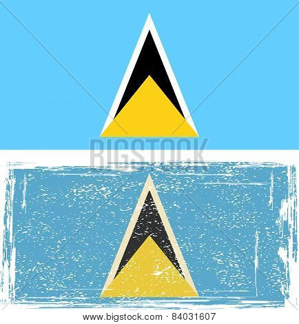Saint Lucia grunge flag. Vector illustration.
