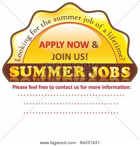 Summer Job Vacancy - Apply Now - printable sticker.