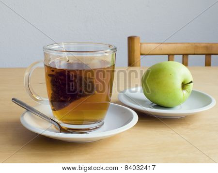Cup Or Tea With Teabag And Apple
