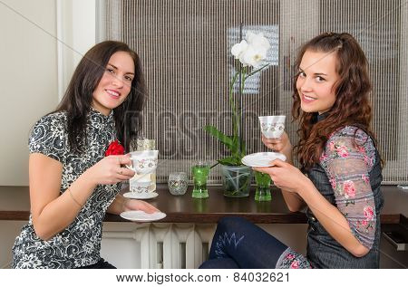 Two  Beautiful Women Drink Tea And Chat Homes