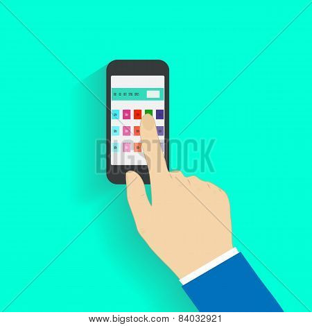 Human hand holding mobile phone
