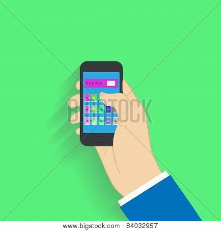 Flat design style. Choosing on smartphone