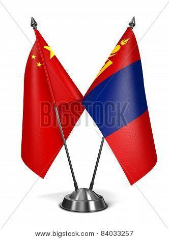 China and Mongolia - Miniature Flags.