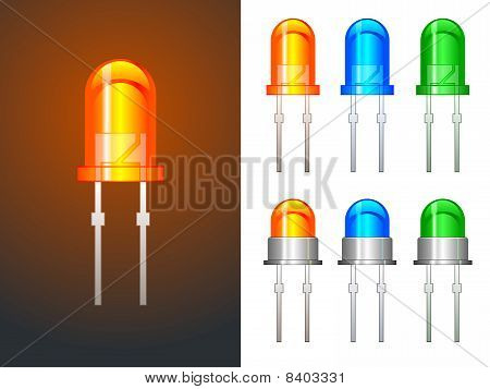 Red, green and blue leds in glass and metallic variants