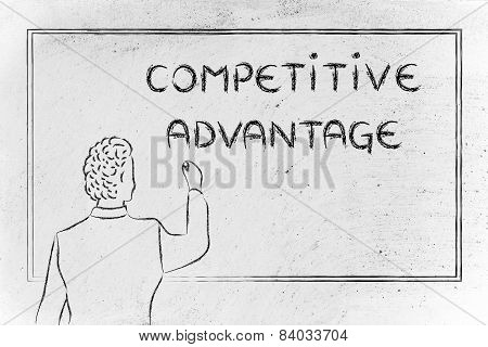 Teacher Or Ceo Explaining About Competitive Advantage