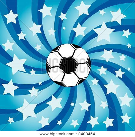 Soccer Ball On Stars Background.eps