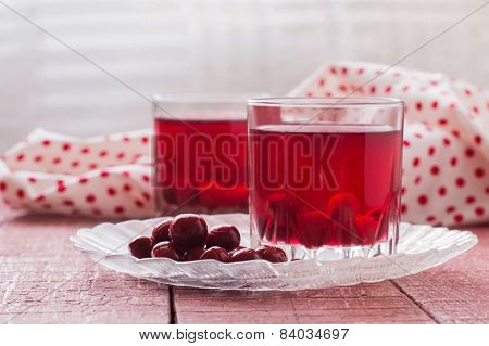 Glasses with cherry compote