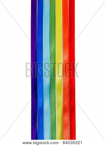 Rainbow Ribbons, Gay Lgbt Sign Is Isolated On White Background, Gay Culture Symbol