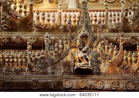 Ancient teak monastery of Shwenandaw Kyaung in Mandalay Myanmar