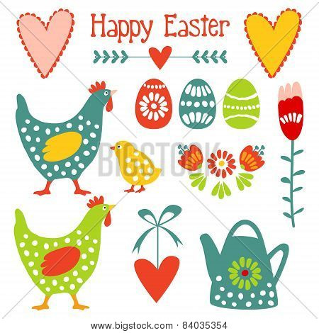 Cute Easter Elements Set With Eggs, Hens, Hearts And Flowers