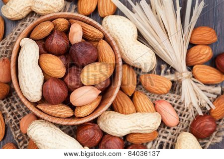 Super Food Different Nuts Mix On Vintage Textile Background