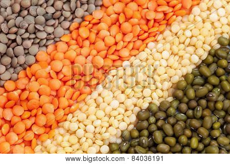 Variety Of Raw Heathy Super Food Legumes And Grain