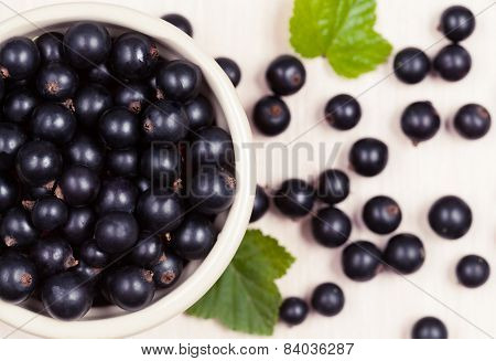 Black Currant Superfoods In A Bowl On White Background