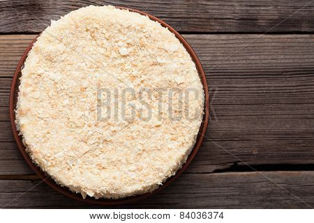 Napoleon Cake On Vintage Wooden Background