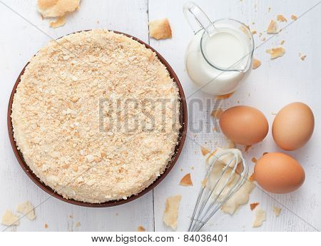 Vanilla Slice Cake In Vintage Provence Style Background With Milk, Eggs And Lavender