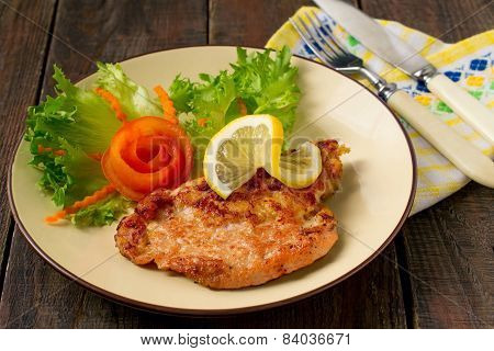 Schnitzel Of Pork With Vegetables
