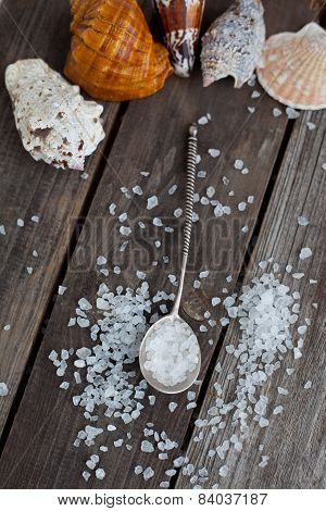 Sea Salt Crystals In A Silver Spoon