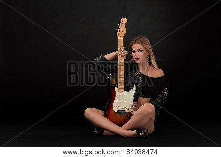 Beautiful Girl  And Guitar