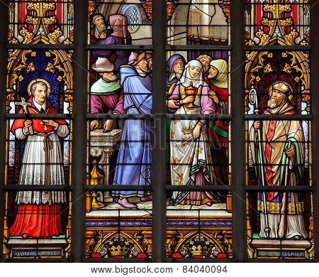 Stained Glass Window Of Catholic Saints In Brussels Cathedral