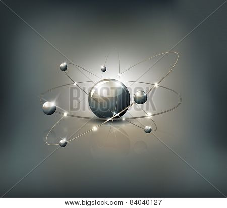 Atom Abstract Grey Background