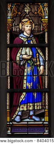 Stained Glass Window Of Saint Leopold Iii, Patron Saint Of Austria
