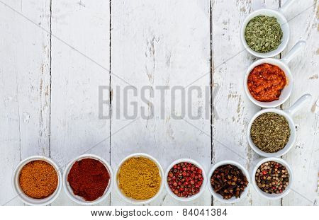 Indian Spices On White Wooden Board