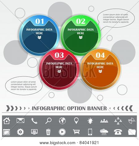 Infographic vector template with round labels and different icons
