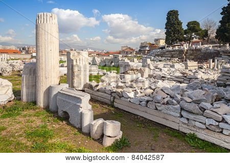Izmir, Turkey, Ruins Of Ancient Smyrna In A Summer Day